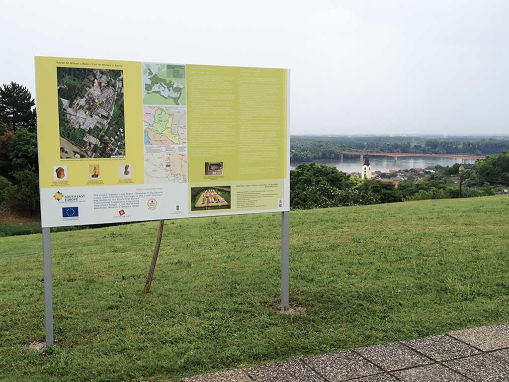Danube Limes Brand information panel near the fort Ad Militare in Batina (Kovač 2014)
